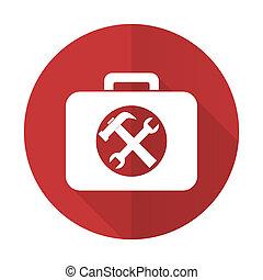 plano, servicio, juego herramientas, señal, rojo, icono