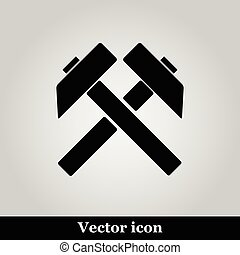 plano, silueta, gris, símbolo, trabajo, dos, trabajo, vector, cruzado, plano de fondo, icono, negro, martillos, señal