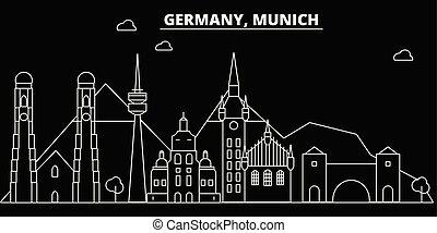 plano, silueta, lineal, ciudad, ilustración, alemán, arquitectura, -, landmarks., edificios., vector, alemania, viaje, icono, skyline., línea, bandera, munchen, contorno