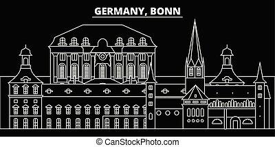 plano, silueta, lineal, ciudad, ilustración, alemán, ...