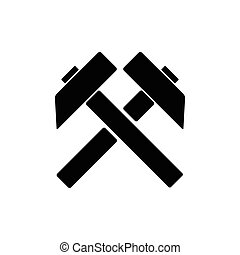 plano, silueta, símbolo, trabajo, dos, trabajo, vector, cruzado, plano de fondo, icono, negro, martillos, señal, blanco