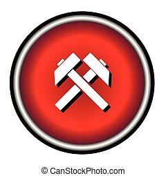 plano, silueta, símbolo, trabajo, dos, trabajo, vector, cruzado, plano de fondo, icono, negro, martillos, señal