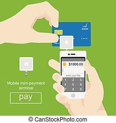 plano, smartphone, card., móvil, procesamiento, credito, vector, pagos, style.