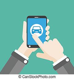 plano, smartphone, coche, mano, clic, elegante