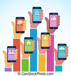plano, smartphones, moderno, -, diseño, manos