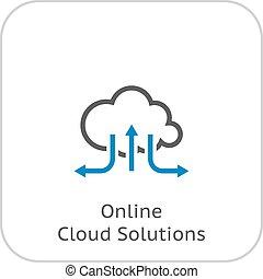 plano, solutions., diseño, en línea, icon., nube