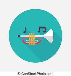 plano, sombra, largo, cuerno, trompeta, o, icono