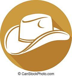 plano, sombrero vaquero, icono