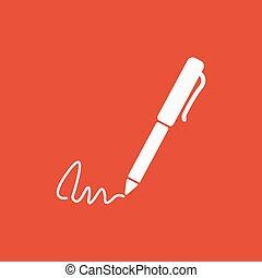 plano, subscribir, ratify, símbolo., pluma, undersign, firma...