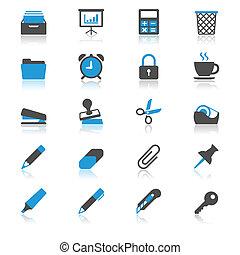 plano, suministros, reflexión, iconos de la oficina