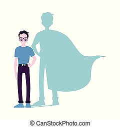 plano, superhero, isolated., ilustración, vector, motivado,...