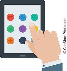 plano, tableta, app, dispositivo, mano, pantalla del tacto, aislado