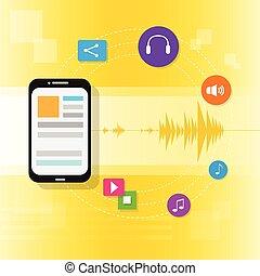 plano, tableta, corriente, pc, vector, música, línea, icono