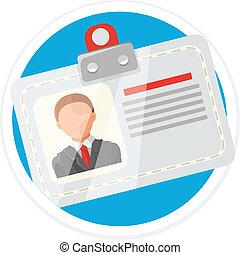 plano, tarjeta, vector, identificación