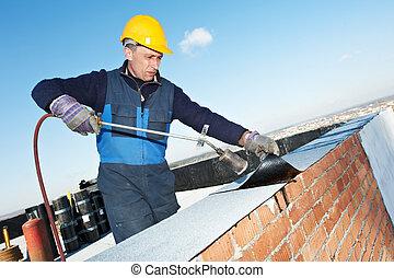 plano, techo, cubierta, trabaja, con, techado, fieltro