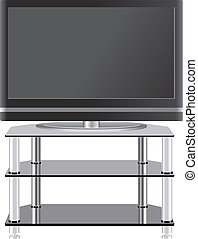 plano, televisión, televisión, moderno, estante, panel