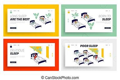 plano, tenga camas para el tiempo, caricatura, banner.,...