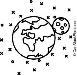 plano, tierra, luna y estrellas
