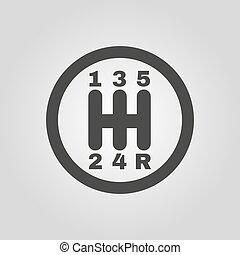 plano, transmisión, coche, manual, símbolo., cambio de marchas, icon.