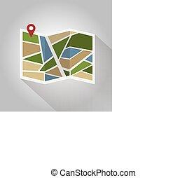 plano, ubicación, coloreado, icono