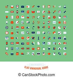 plano, universal, diseño determinado, iconos