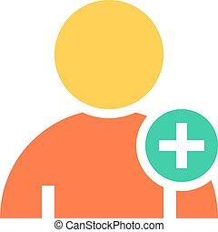 plano, usuario, icono, miembro, señal, avatar, botón