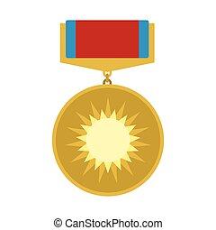 plano, valor, medalla, icono