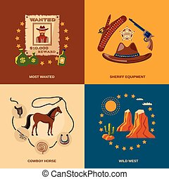 plano, vaquero, iconos