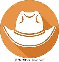 plano, vaquero, sombrero, icono