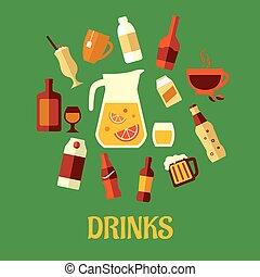 plano, variado, bebidas, y, bebidas