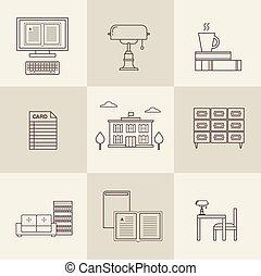 plano, vector, biblioteca, iconos