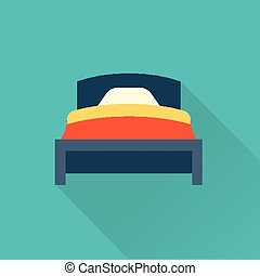 plano, vector, cama, icono