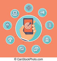 plano, vector, concepto, -, marketing internet