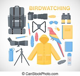 plano, vector, conjunto, birdwatching, iconos
