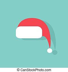 plano, vector, diseño, santa sombrero, rojo, icono