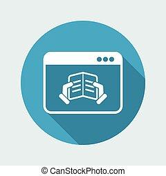 plano, -, vector, en línea, icono, libro electrónico
