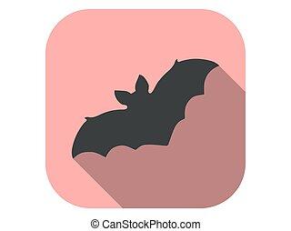 plano, vector, halloween, icono, octubre, ilustración, 31st., murciélago, shadow.