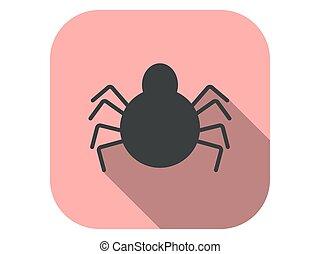 plano, vector, halloween, icono, octubre, ilustración, 31st., shadow., araña