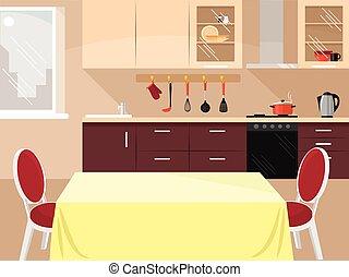 plano, vector, ilustración, cocina