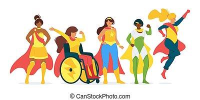 plano, vector, ilustración, colección, superwomen