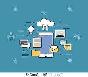 plano, vector, ilustración, de, nube, para, smartphones, en, invierno, fondo., todos adentro, su, dispositivo, o, en, nube, almacenamiento