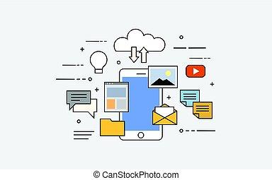 plano, vector, ilustración, de, nube, para, smartphones., todos adentro, su, dispositivo, o, en, nube, almacenamiento