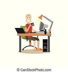 plano, vector, internet, ilustración, gente