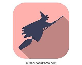plano, vector, largo, escobas, icono, halloween, octubre, ilustración, 31st., bruja, shadow.