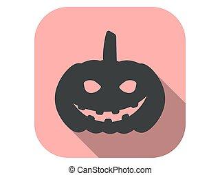 plano, vector, largo, halloween, icono, octubre, ilustración, 31st., mal, calabaza, shadow.