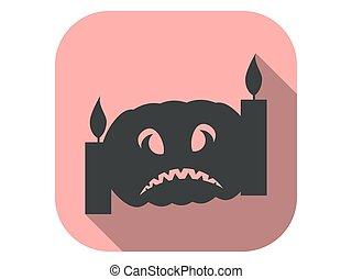 plano, vector, largo, halloween, icono, octubre, ilustración, 31st., velas, calabaza, shadow.
