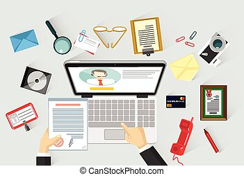 plano, vector, lugar de trabajo, ilustración