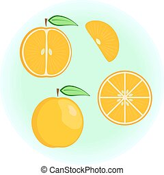 plano, vector, naranja, conjunto