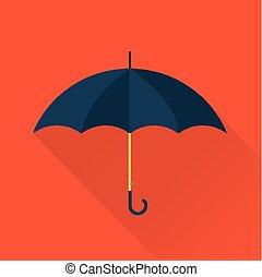 plano, vector, paraguas, icono