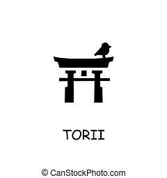 plano, vector, puerta de torii, icono
